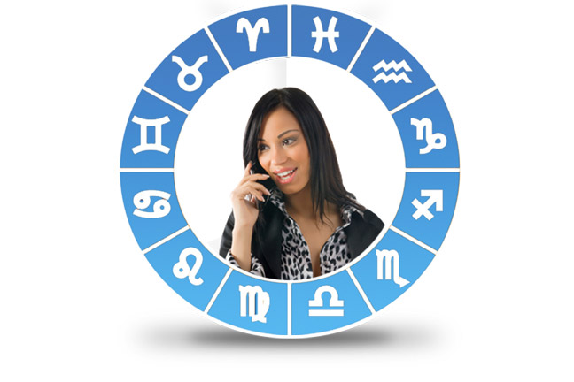 astrology signs surrounding a phone psychic