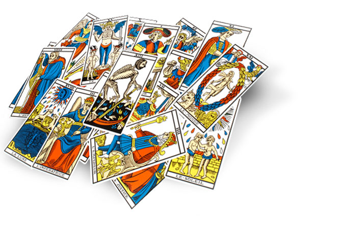 picture of tarot cards piled on top of one another